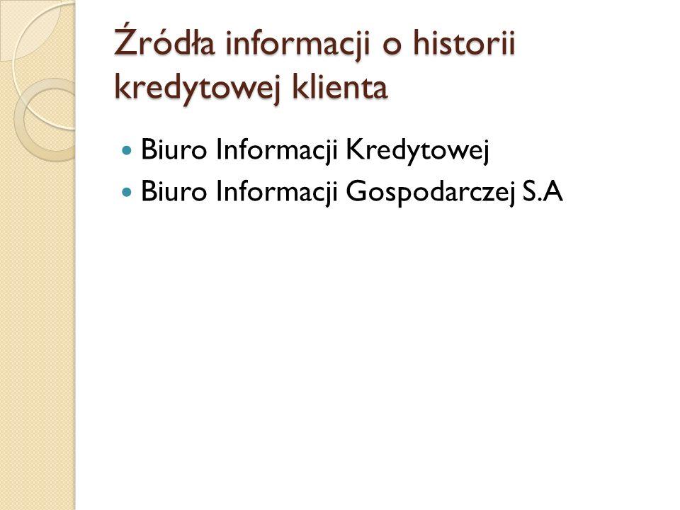 Źródła informacji o historii kredytowej klienta Biuro Informacji Kredytowej Biuro Informacji Gospodarczej S.A