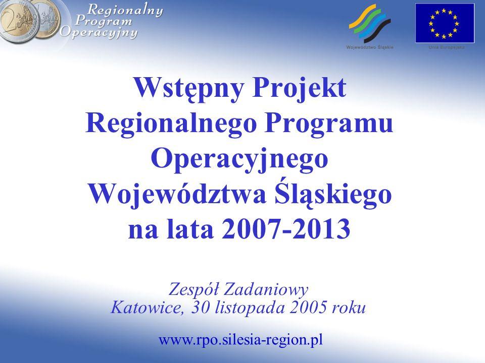 www.rpo.silesia-region.pl Wstępny Projekt Regionalnego Programu Operacyjnego Województwa Śląskiego na lata 2007-2013 Zespół Zadaniowy Katowice, 30 listopada 2005 roku