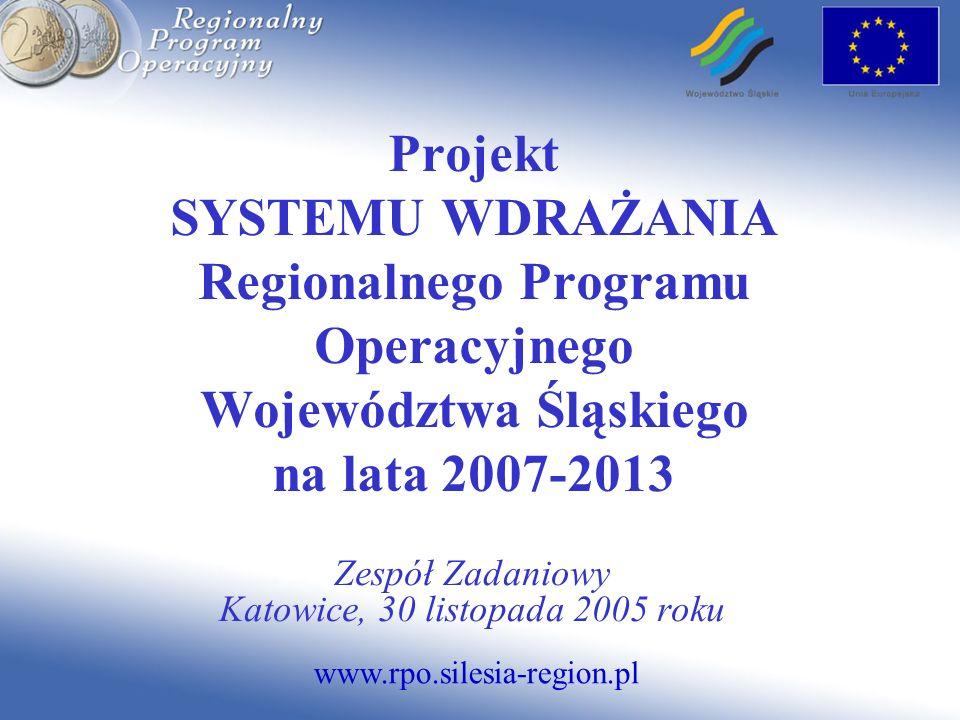 www.rpo.silesia-region.pl Projekt SYSTEMU WDRAŻANIA Regionalnego Programu Operacyjnego Województwa Śląskiego na lata 2007-2013 Zespół Zadaniowy Katowice, 30 listopada 2005 roku