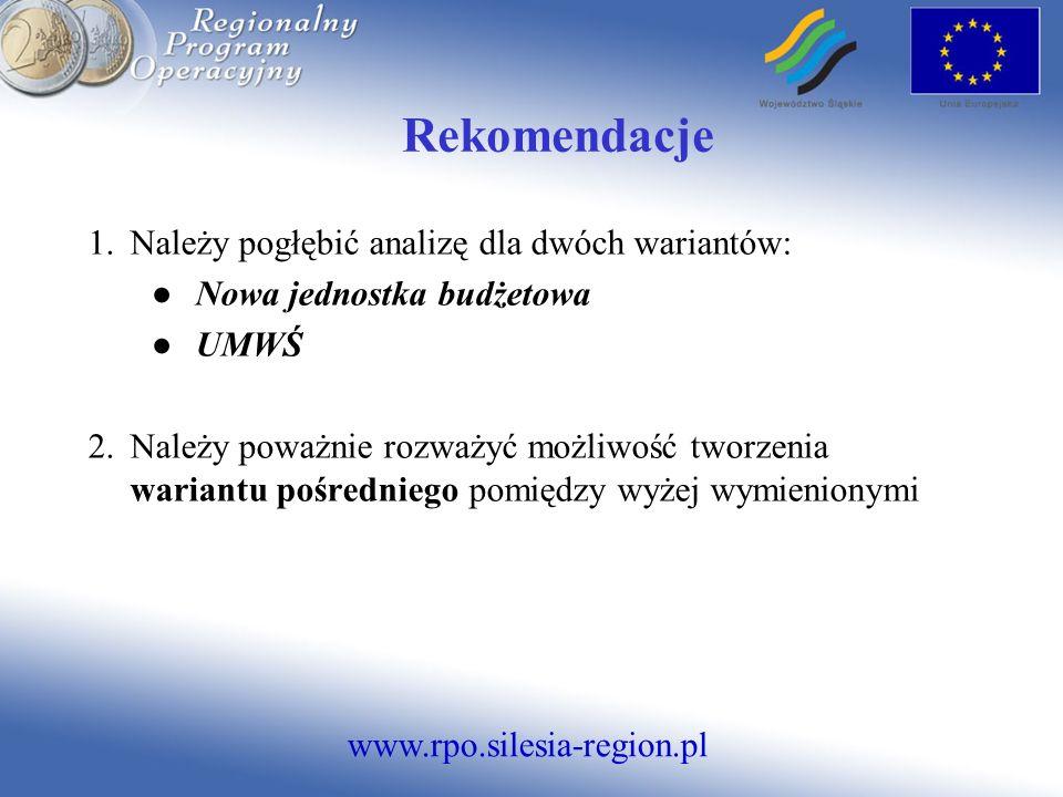 www.rpo.silesia-region.pl Rekomendacje 1.Należy pogłębić analizę dla dwóch wariantów: Nowa jednostka budżetowa UMWŚ 2.Należy poważnie rozważyć możliwość tworzenia wariantu pośredniego pomiędzy wyżej wymienionymi