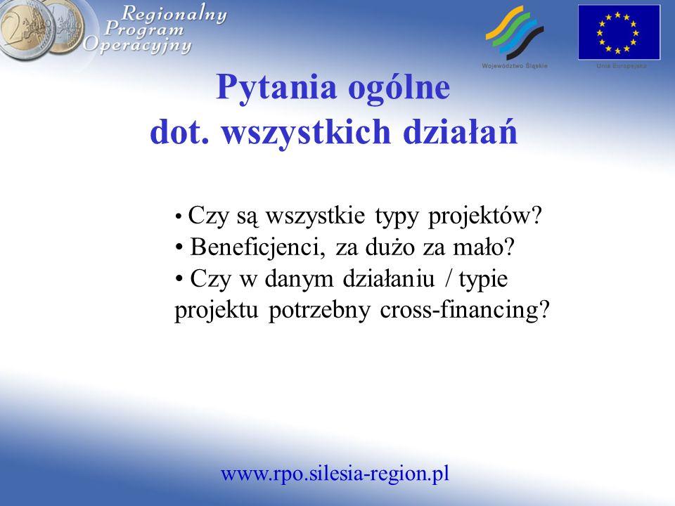 www.rpo.silesia-region.pl Pytania ogólne dot. wszystkich działań Czy są wszystkie typy projektów.