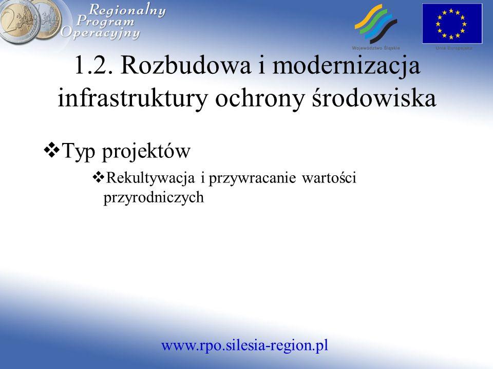 www.rpo.silesia-region.pl Typ projektów Rekultywacja i przywracanie wartości przyrodniczych 1.2.