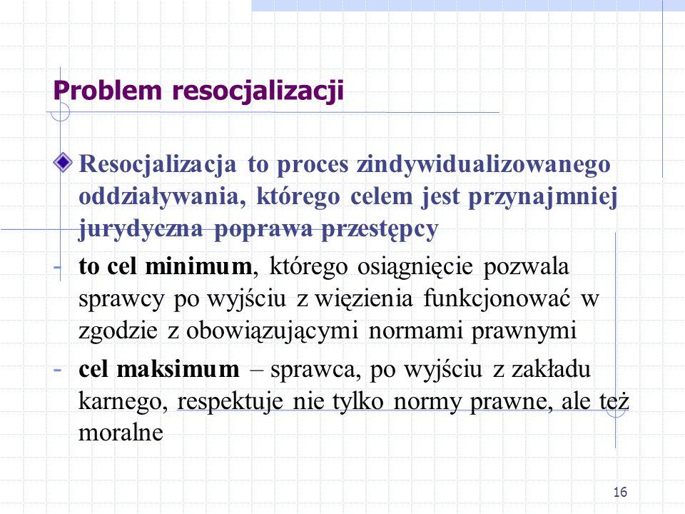 16 Problem resocjalizacji Resocjalizacja to proces zindywidualizowanego oddziaływania, którego celem jest przynajmniej jurydyczna poprawa przestępcy -