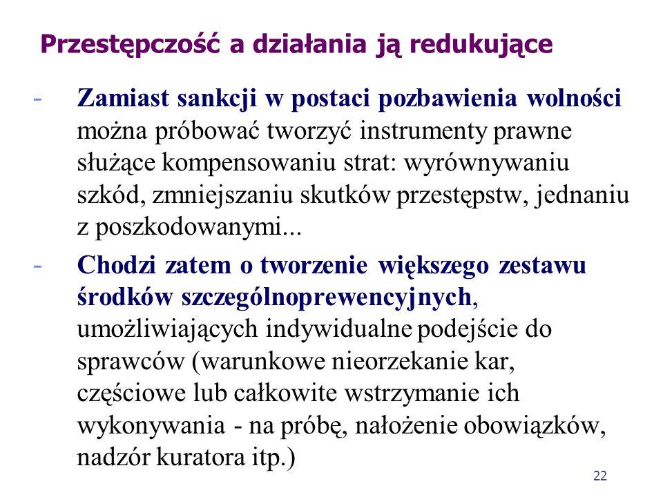 22 Przestępczość a działania ją redukujące - Zamiast sankcji w postaci pozbawienia wolności można próbować tworzyć instrumenty prawne służące kompenso