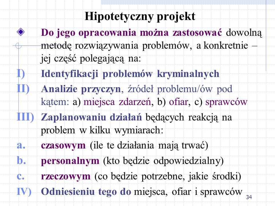 34 Hipotetyczny projekt Do jego opracowania można zastosować dowolną metodę rozwiązywania problemów, a konkretnie – jej część polegającą na: I) Identy