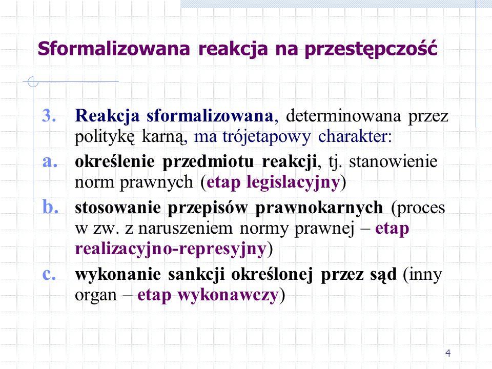 4 Sformalizowana reakcja na przestępczość 3. Reakcja sformalizowana, determinowana przez politykę karną, ma trójetapowy charakter: a. określenie przed
