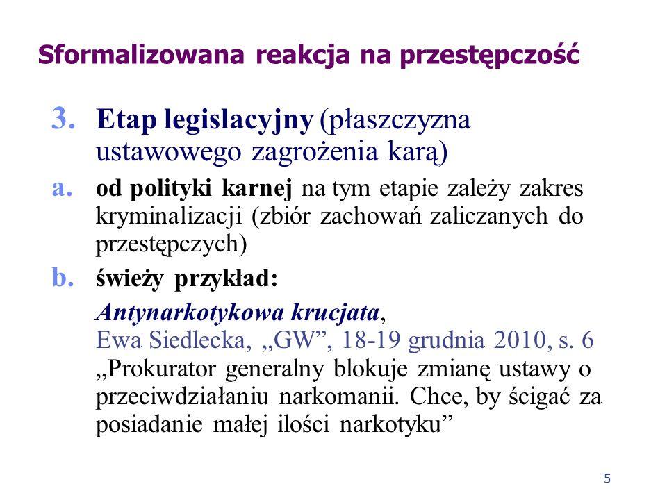 5 3. Etap legislacyjny (płaszczyzna ustawowego zagrożenia karą) a. od polityki karnej na tym etapie zależy zakres kryminalizacji (zbiór zachowań zalic