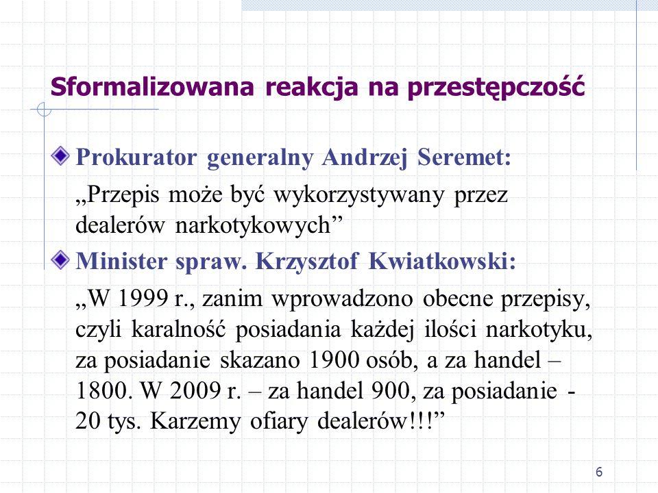 6 Prokurator generalny Andrzej Seremet: Przepis może być wykorzystywany przez dealerów narkotykowych Minister spraw. Krzysztof Kwiatkowski: W 1999 r.,