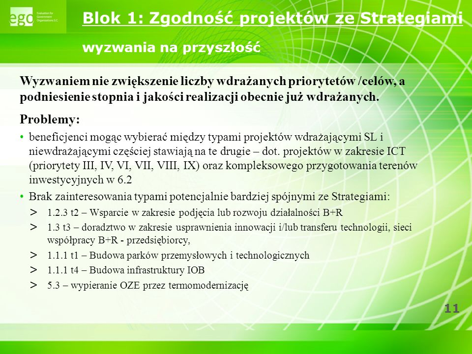 11 Wyzwaniem nie zwiększenie liczby wdrażanych priorytetów /celów, a podniesienie stopnia i jakości realizacji obecnie już wdrażanych. Problemy: benef