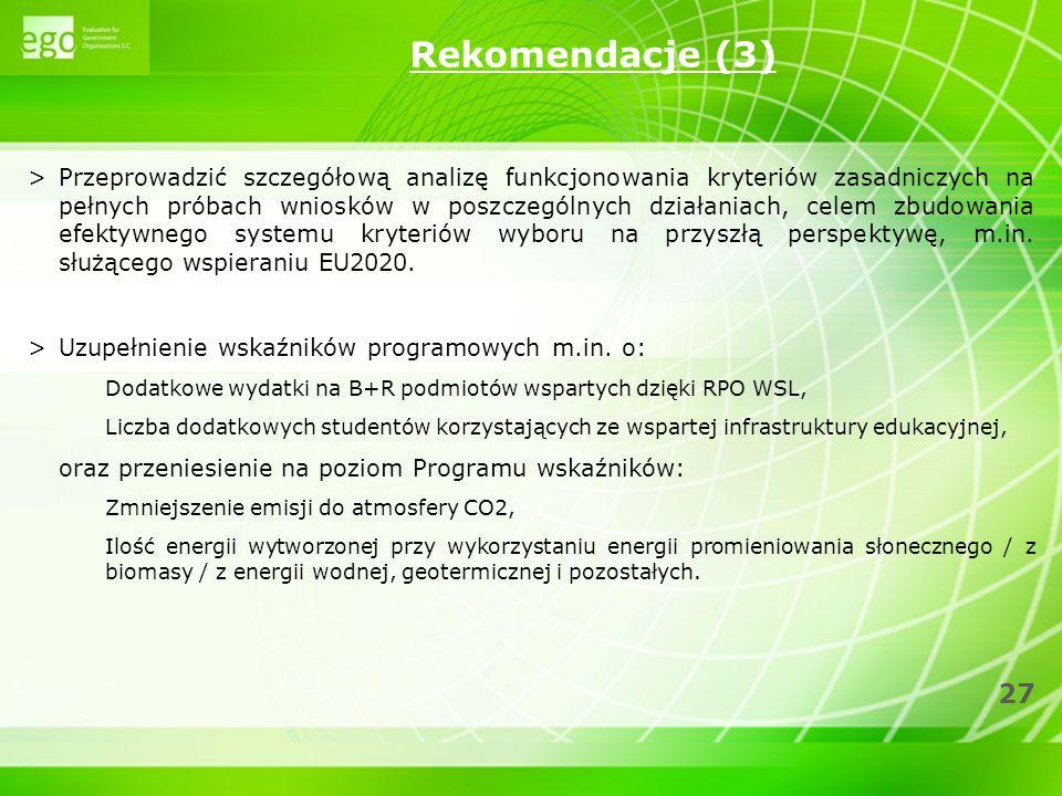27 >Przeprowadzić szczegółową analizę funkcjonowania kryteriów zasadniczych na pełnych próbach wniosków w poszczególnych działaniach, celem zbudowania