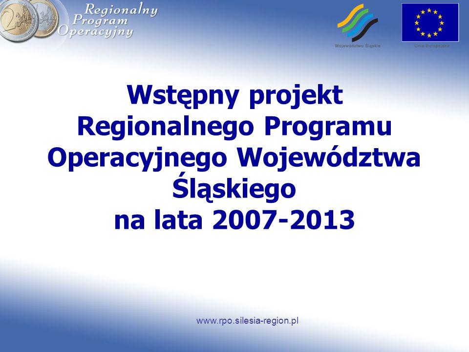 www.rpo.silesia-region.pl Wstępny projekt Regionalnego Programu Operacyjnego Województwa Śląskiego na lata 2007-2013