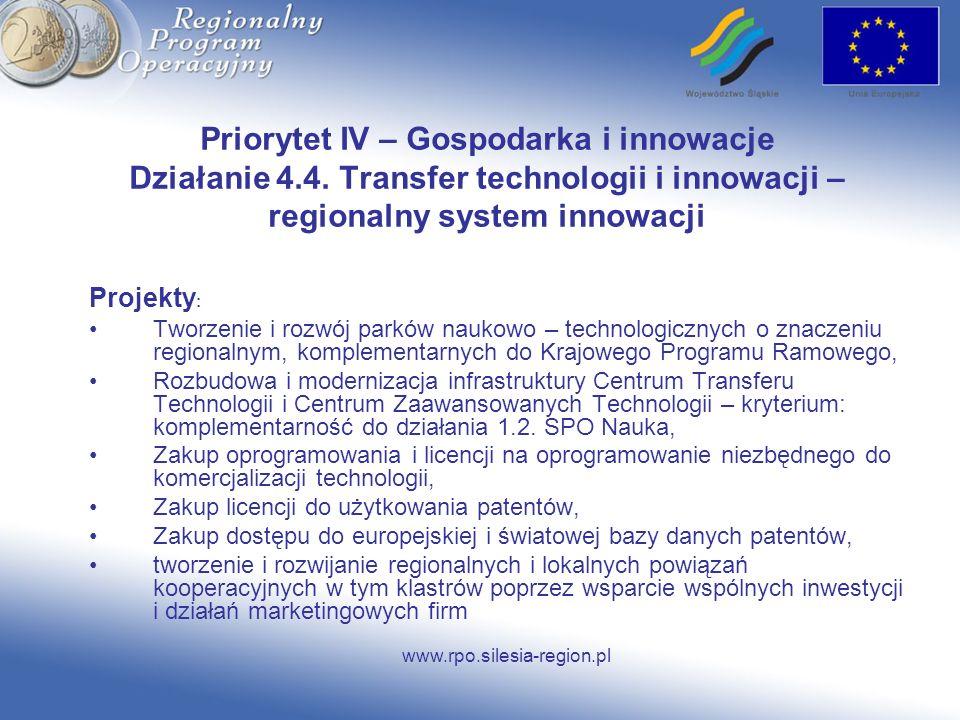www.rpo.silesia-region.pl Priorytet IV – Gospodarka i innowacje Działanie 4.4. Transfer technologii i innowacji – regionalny system innowacji Projekty
