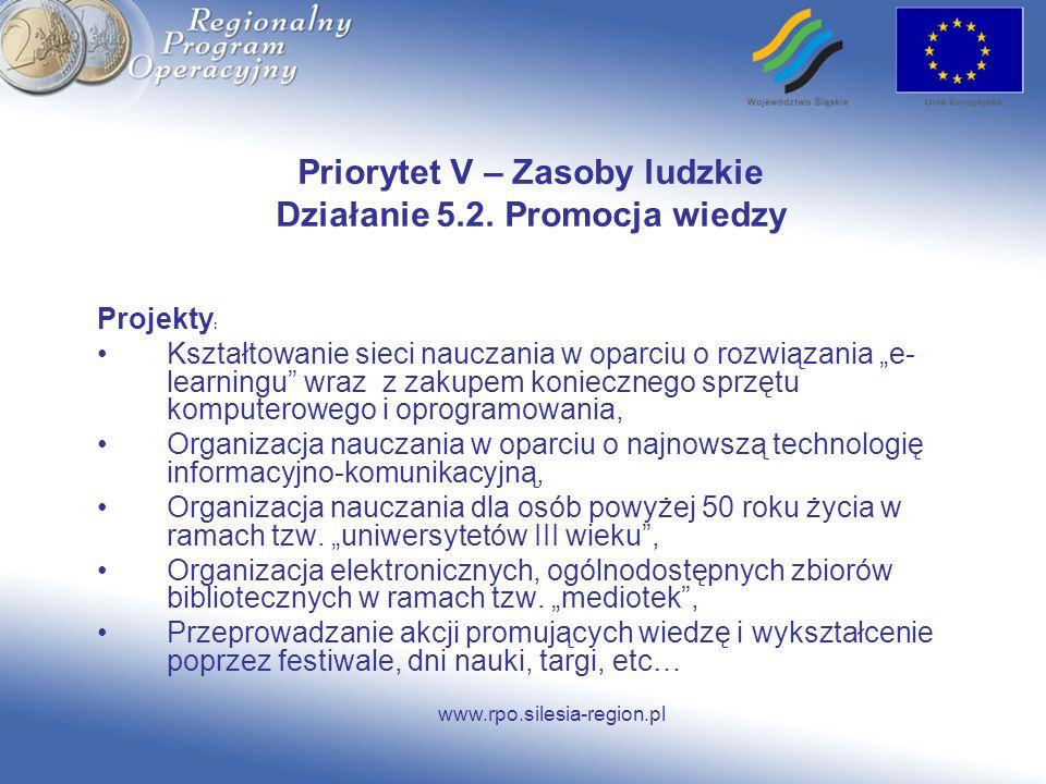 www.rpo.silesia-region.pl Priorytet V – Zasoby ludzkie Działanie 5.2. Promocja wiedzy Projekty : Kształtowanie sieci nauczania w oparciu o rozwiązania