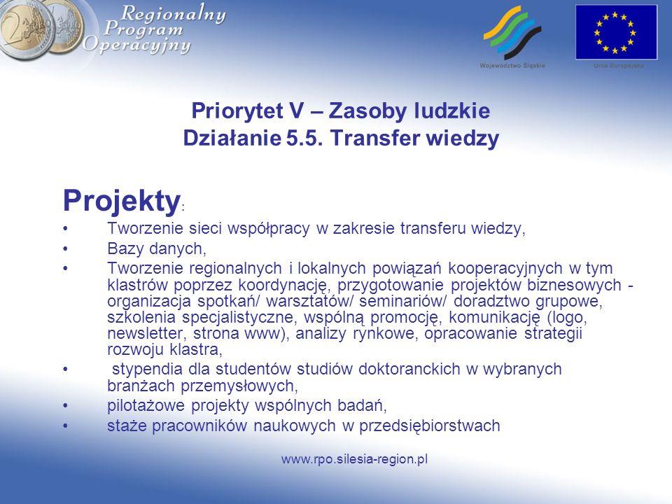 www.rpo.silesia-region.pl Priorytet V – Zasoby ludzkie Działanie 5.5. Transfer wiedzy Projekty : Tworzenie sieci współpracy w zakresie transferu wiedz