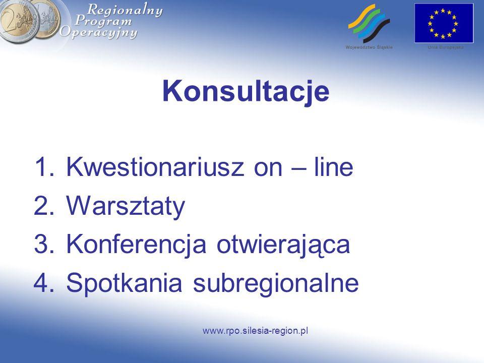 www.rpo.silesia-region.pl Konsultacje 1.Kwestionariusz on – line 2.Warsztaty 3.Konferencja otwierająca 4.Spotkania subregionalne