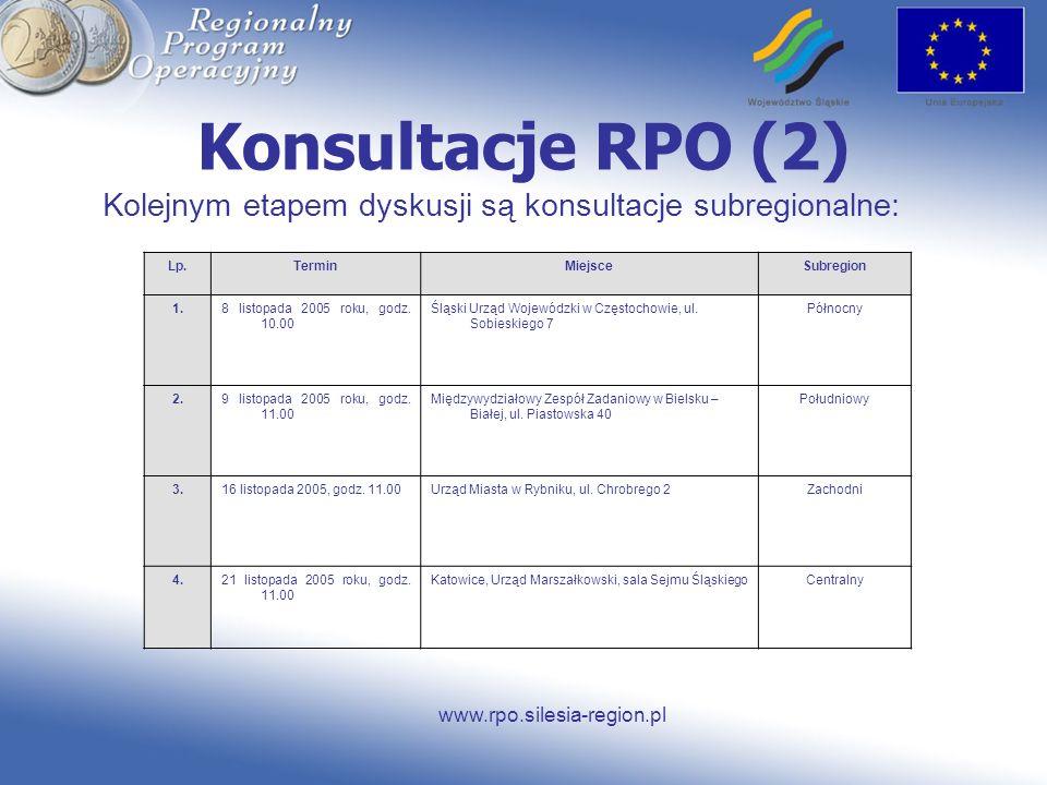 www.rpo.silesia-region.pl Konsultacje RPO (2) Kolejnym etapem dyskusji są konsultacje subregionalne: Lp.TerminMiejsceSubregion 1.8 listopada 2005 roku