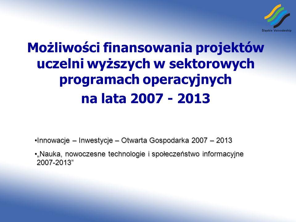 www.rpo.silesia-region.pl Możliwości finansowania projektów uczelni wyższych w sektorowych programach operacyjnych na lata 2007 - 2013 Innowacje – Inw