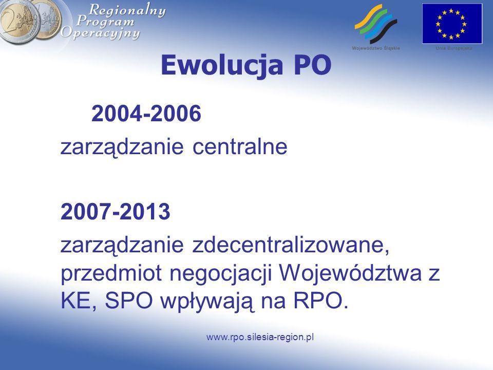 www.rpo.silesia-region.pl Ewolucja PO 2004-2006 zarządzanie centralne 2007-2013 zarządzanie zdecentralizowane, przedmiot negocjacji Województwa z KE,