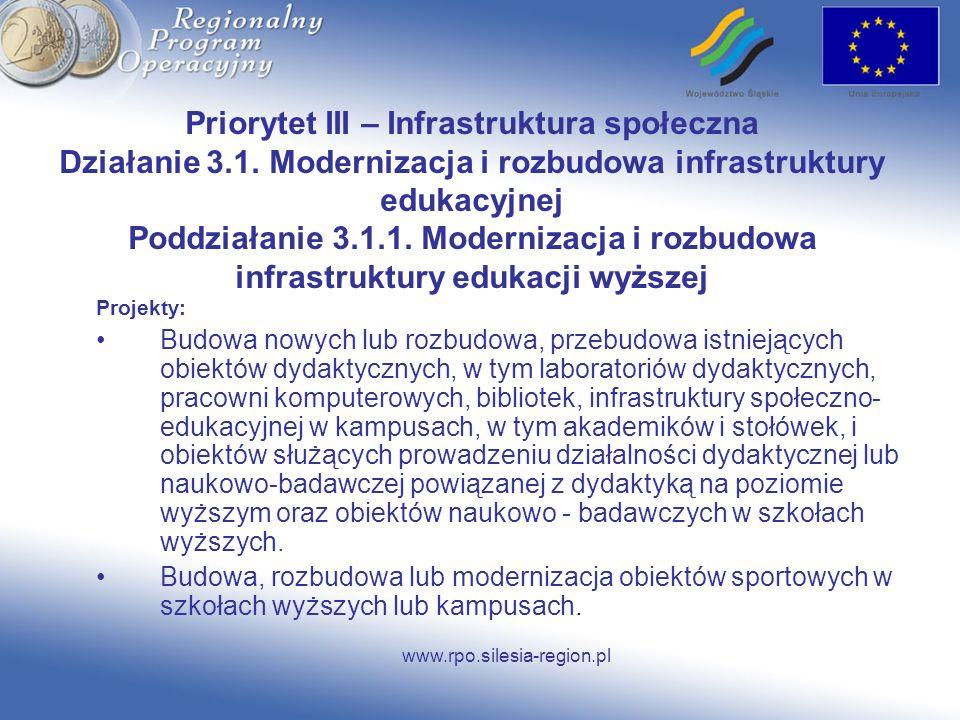 www.rpo.silesia-region.pl Priorytet III – Infrastruktura społeczna Działanie 3.1. Modernizacja i rozbudowa infrastruktury edukacyjnej Poddziałanie 3.1