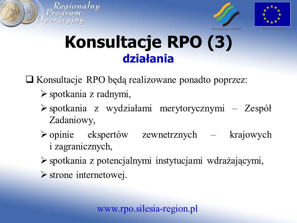 www.rpo.silesia-region.pl Konsultacje RPO (3) działania Konsultacje RPO będą realizowane ponadto poprzez: spotkania z radnymi, spotkania z wydziałami merytorycznymi – Zespół Zadaniowy, opinie ekspertów zewnetrznych – krajowych i zagranicznych, spotkania z potencjalnymi instytucjami wdrażającymi, strone internetowej.