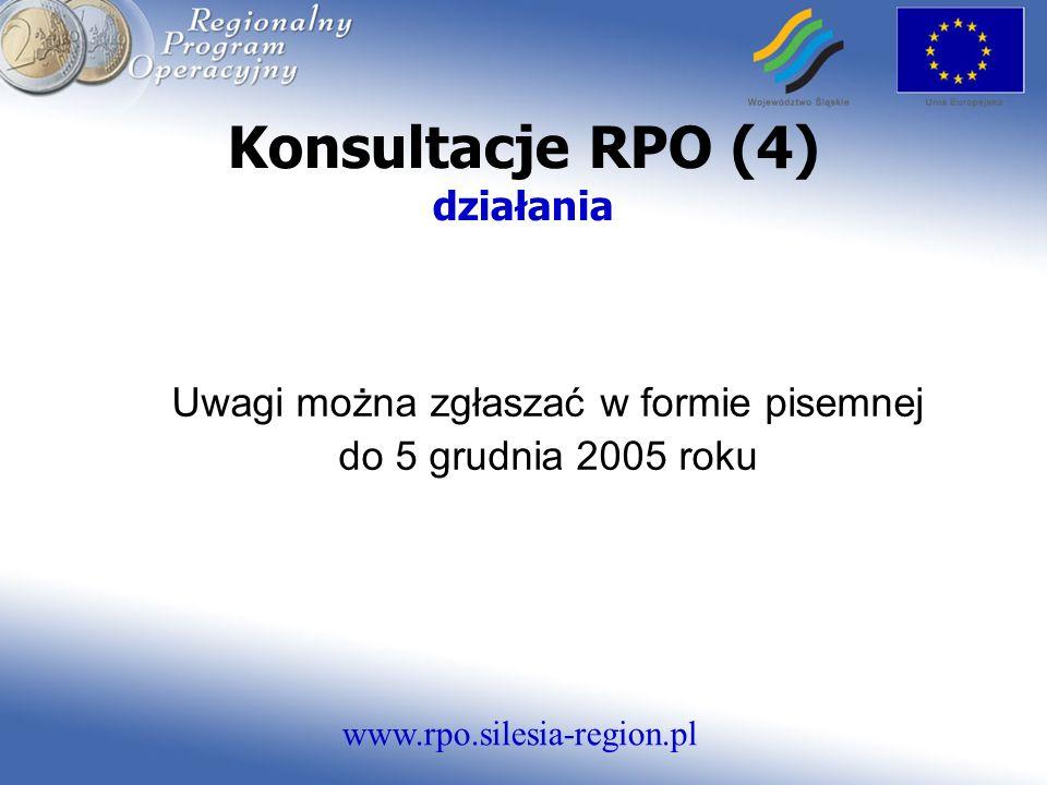 www.rpo.silesia-region.pl Konsultacje RPO (4) działania Uwagi można zgłaszać w formie pisemnej do 5 grudnia 2005 roku