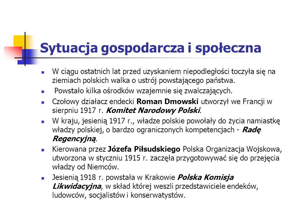 Sytuacja gospodarcza i społeczna Lata 1918 – 1939 były okresem ważnych przeobrażeń. Przede wszystkim Polska odzyskała niepodległość, co stanowiło w dz
