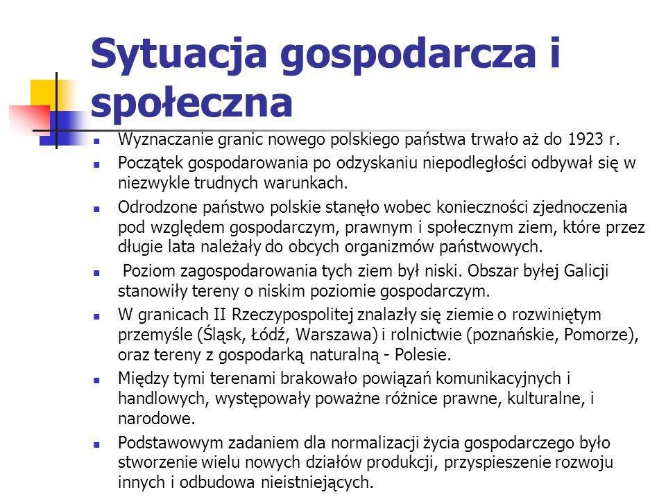 Sytuacja gospodarcza i społeczna W ciągu ostatnich lat przed uzyskaniem niepodległości toczyła się na ziemiach polskich walka o ustrój powstającego pa