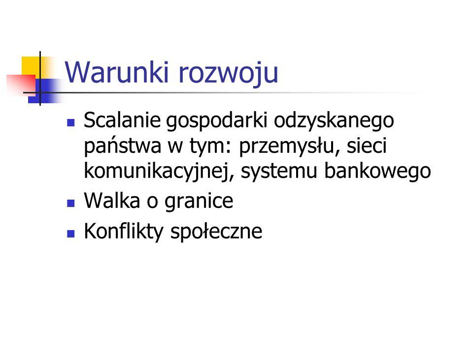 Warunki rozwoju Odzyskanie przez Polskę niepodległości w 1918 r. Odrodzenie niezawisłego bytu państwowego po 123 latach niewoli, postawiło państwo prz
