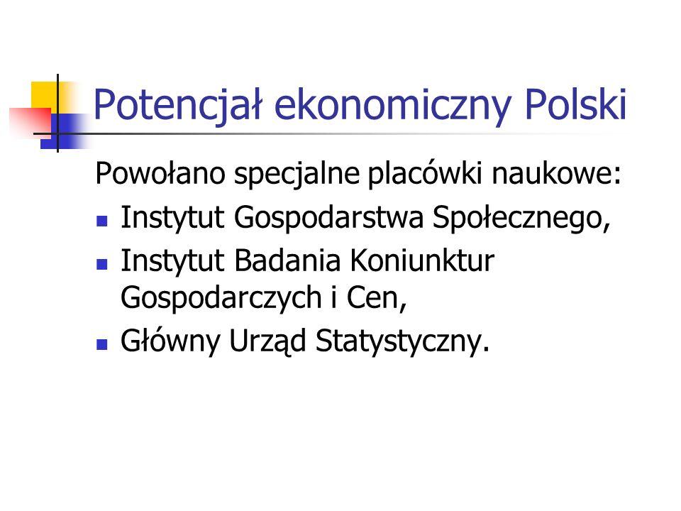Potencjał ekonomiczny Polski 5 ośrodków uniwersyteckich z katedrami ekonomicznymi: Warszawa, Kraków, Lwów, Poznań i Wilno Wyższa Szkoła Handlowa w War