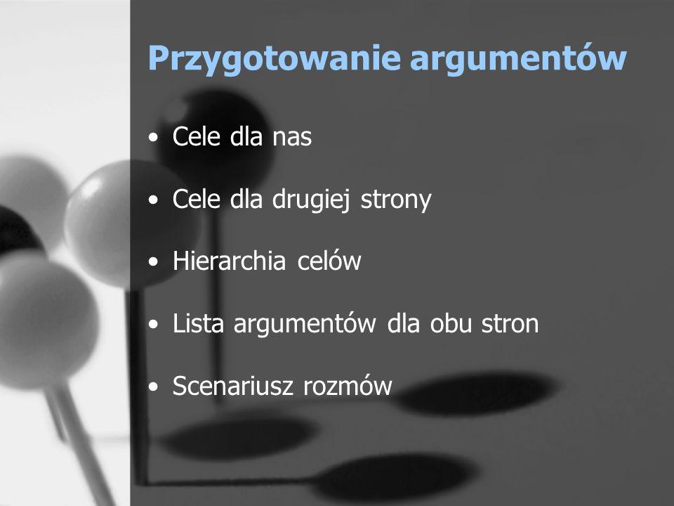 Przygotowanie argumentów Cele dla nas Cele dla drugiej strony Hierarchia celów Lista argumentów dla obu stron Scenariusz rozmów