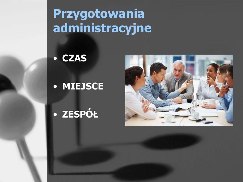 Przygotowania administracyjne CZAS MIEJSCE ZESPÓŁ