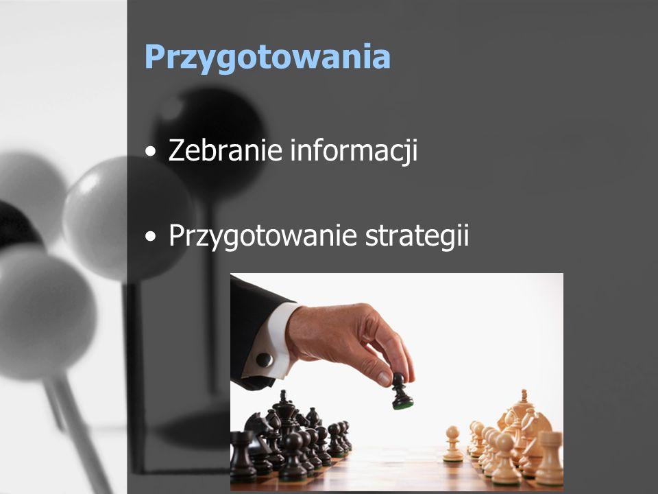 Przygotowania strategiczne Rozeznanie: –rynku –konkurencji –cen –sytuacji partnera i jego potrzeb Niepowodzenie w planowaniu to planowanie niepowodzenia.