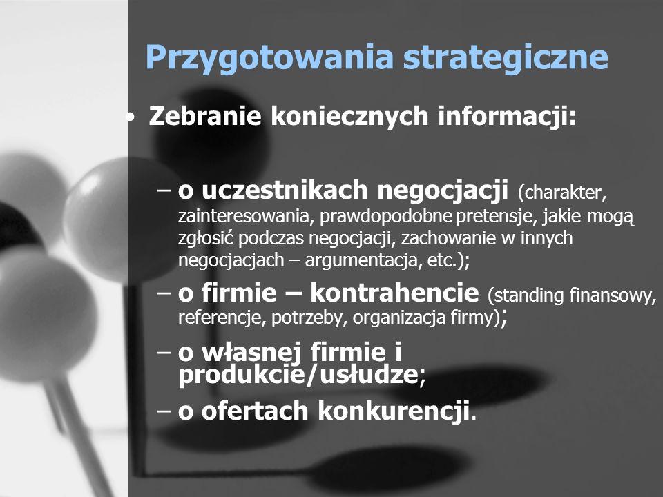 Przygotowania strategiczne Zebranie koniecznych informacji: –o uczestnikach negocjacji (charakter, zainteresowania, prawdopodobne pretensje, jakie mog