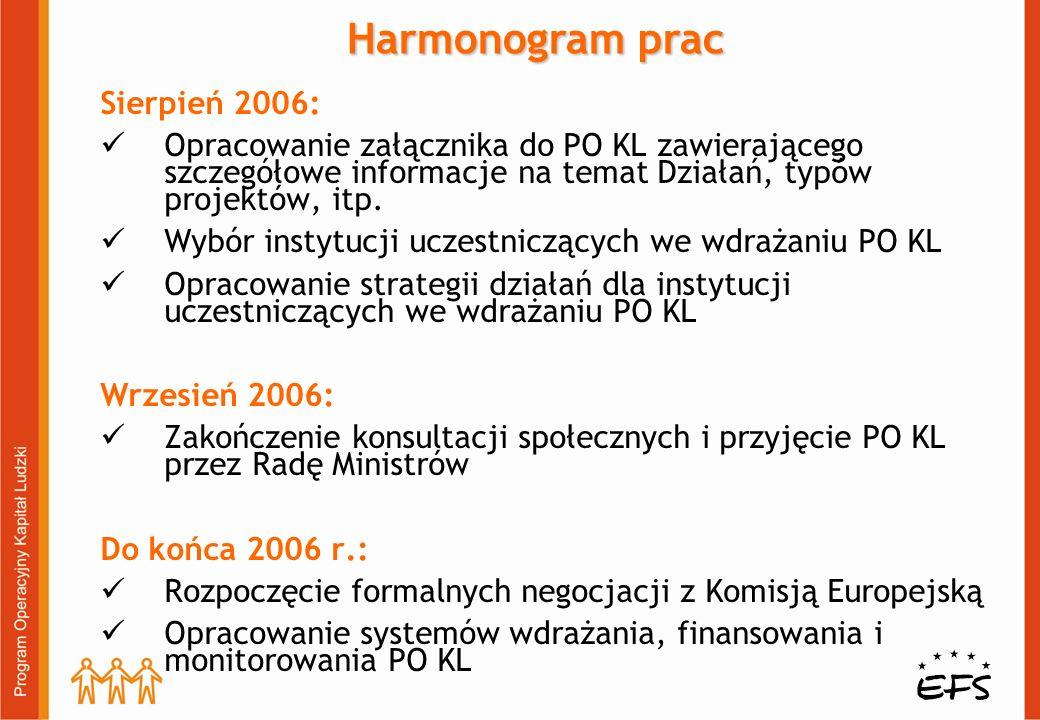 Sierpień 2006: Opracowanie załącznika do PO KL zawierającego szczegółowe informacje na temat Działań, typów projektów, itp. Wybór instytucji uczestnic