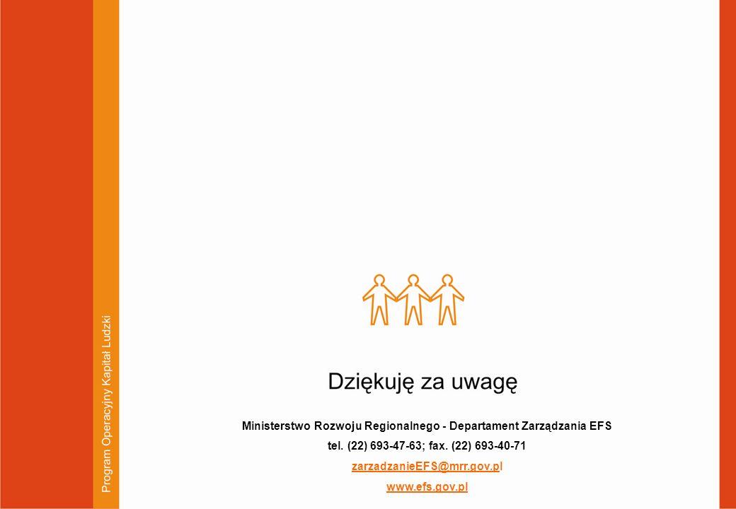 Ministerstwo Rozwoju Regionalnego - Departament Zarządzania EFS tel. (22) 693-47-63; fax. (22) 693-40-71 zarzadzanieEFS@mrr.gov.pl www.efs.gov.pl