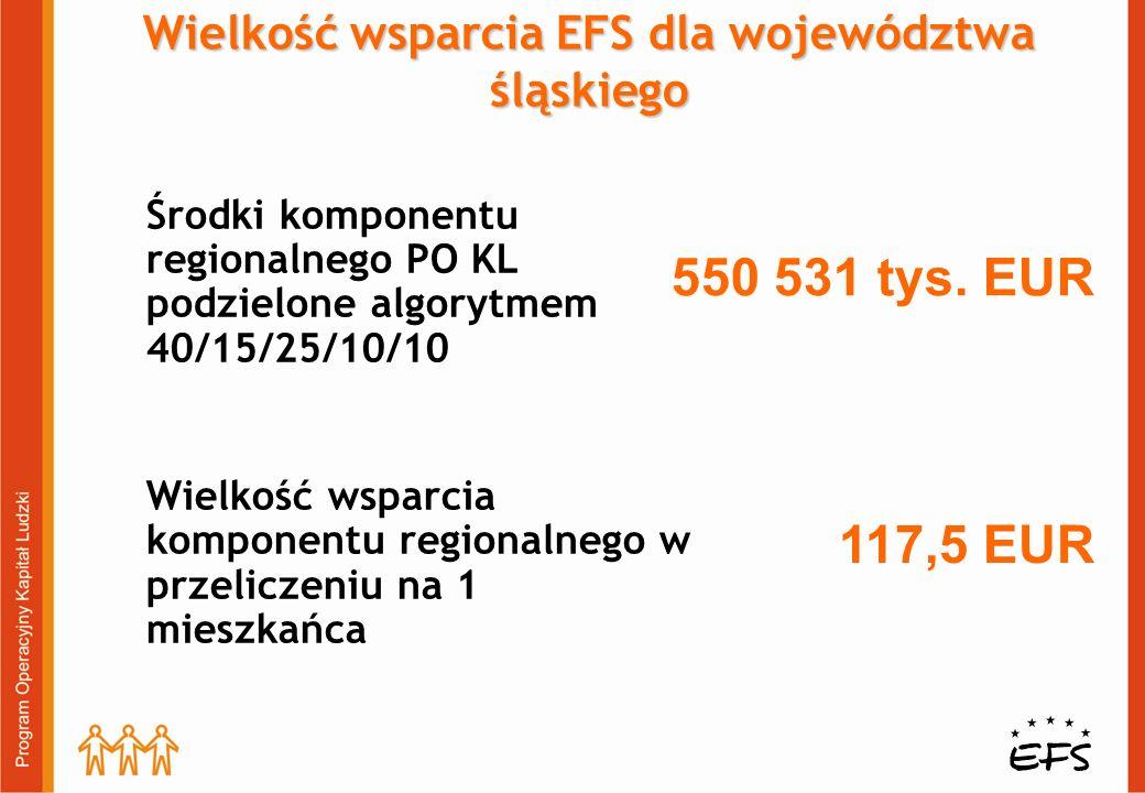 Wielkość wsparcia EFS dla województwa śląskiego Środki komponentu regionalnego PO KL podzielone algorytmem 40/15/25/10/10 Wielkość wsparcia komponentu