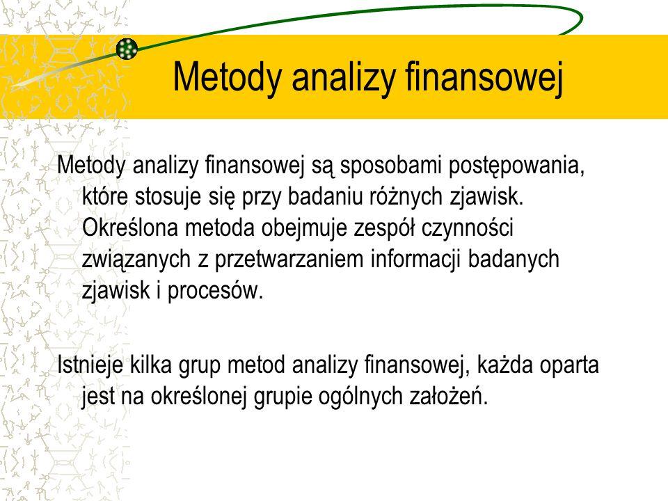 Metody analizy finansowej Metody analizy finansowej są sposobami postępowania, które stosuje się przy badaniu różnych zjawisk. Określona metoda obejmu
