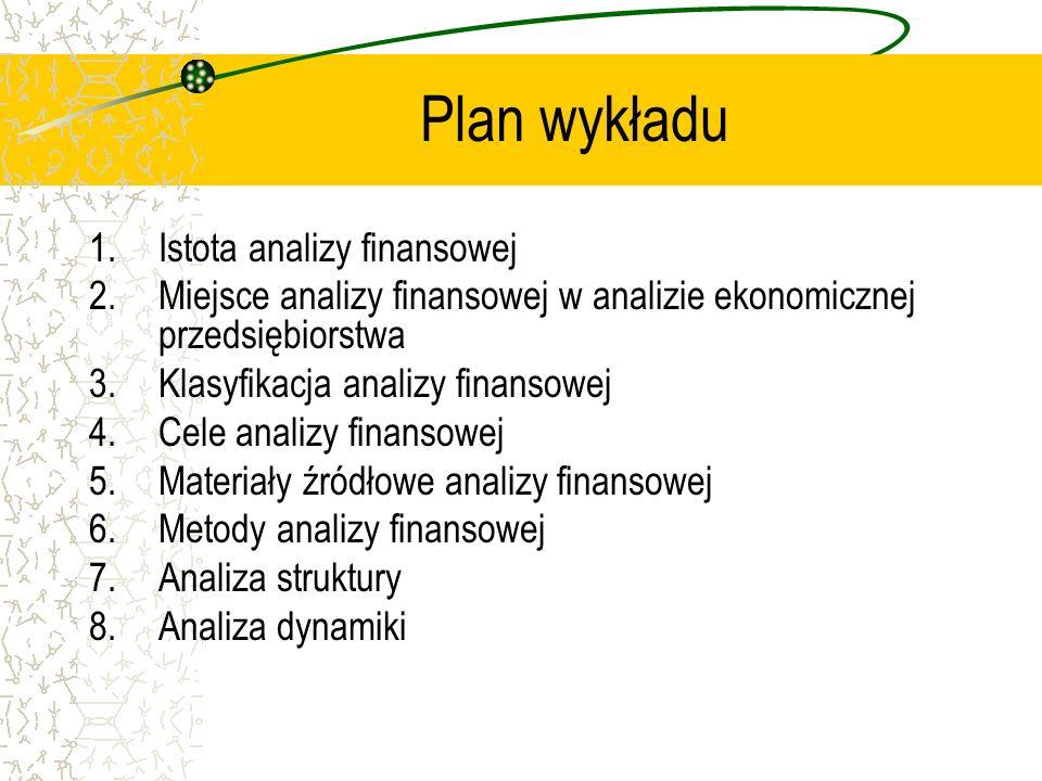 Plan wykładu 1.Istota analizy finansowej 2.Miejsce analizy finansowej w analizie ekonomicznej przedsiębiorstwa 3.Klasyfikacja analizy finansowej 4.Cel