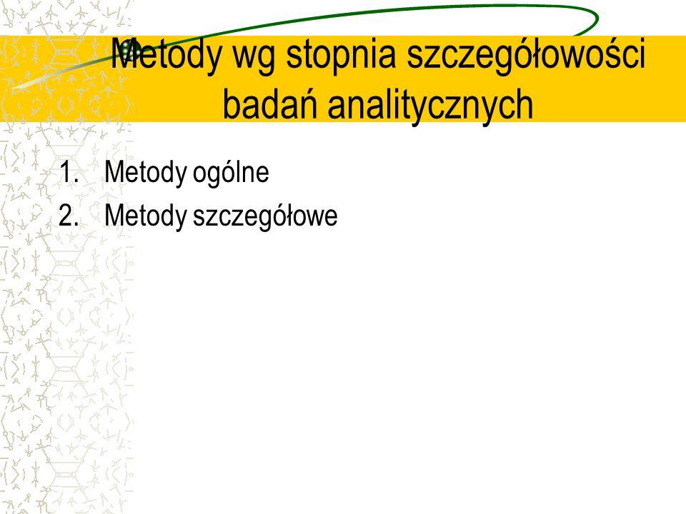 Metody wg stopnia szczegółowości badań analitycznych 1.Metody ogólne 2.Metody szczegółowe