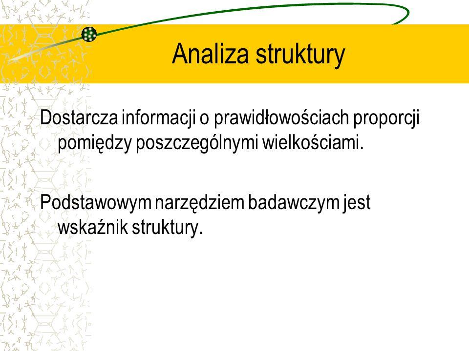 Analiza struktury Dostarcza informacji o prawidłowościach proporcji pomiędzy poszczególnymi wielkościami. Podstawowym narzędziem badawczym jest wskaźn