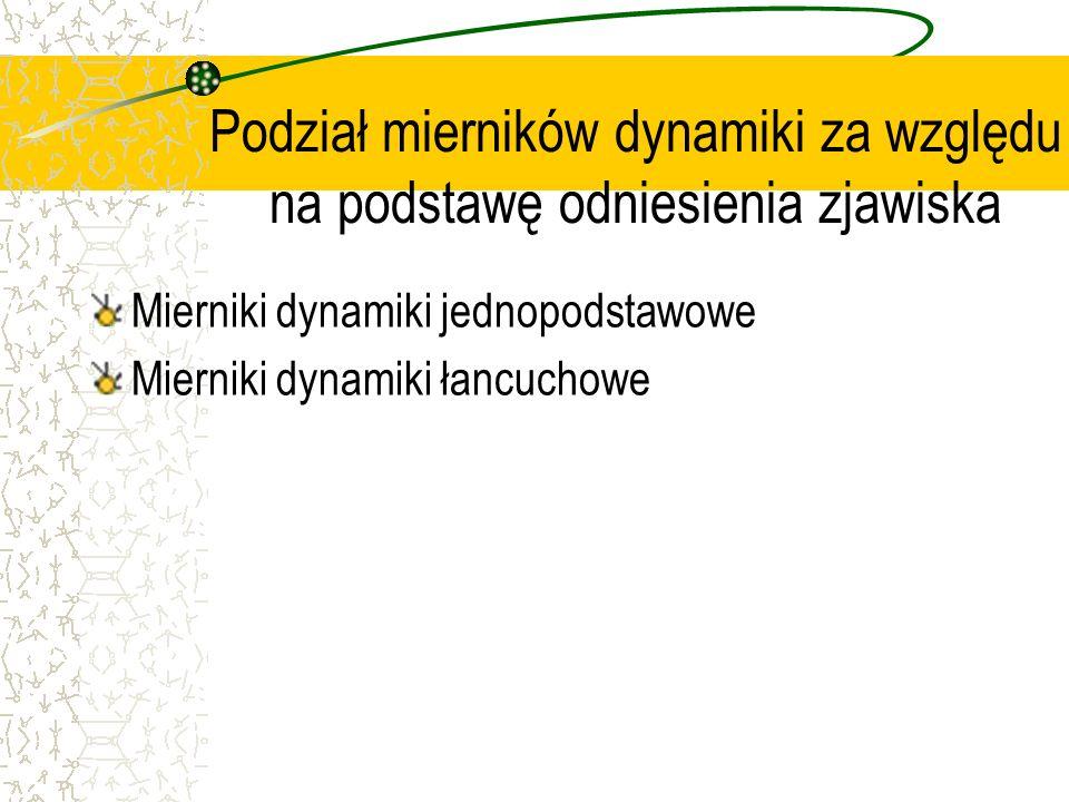 Podział mierników dynamiki za względu na podstawę odniesienia zjawiska Mierniki dynamiki jednopodstawowe Mierniki dynamiki łancuchowe