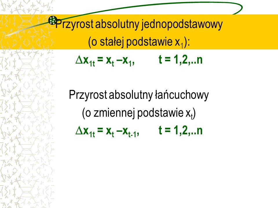 Przyrost absolutny jednopodstawowy (o stałej podstawie x 1 ): x 1t = x t –x 1, t = 1,2,..n Przyrost absolutny łańcuchowy (o zmiennej podstawie x t ) x