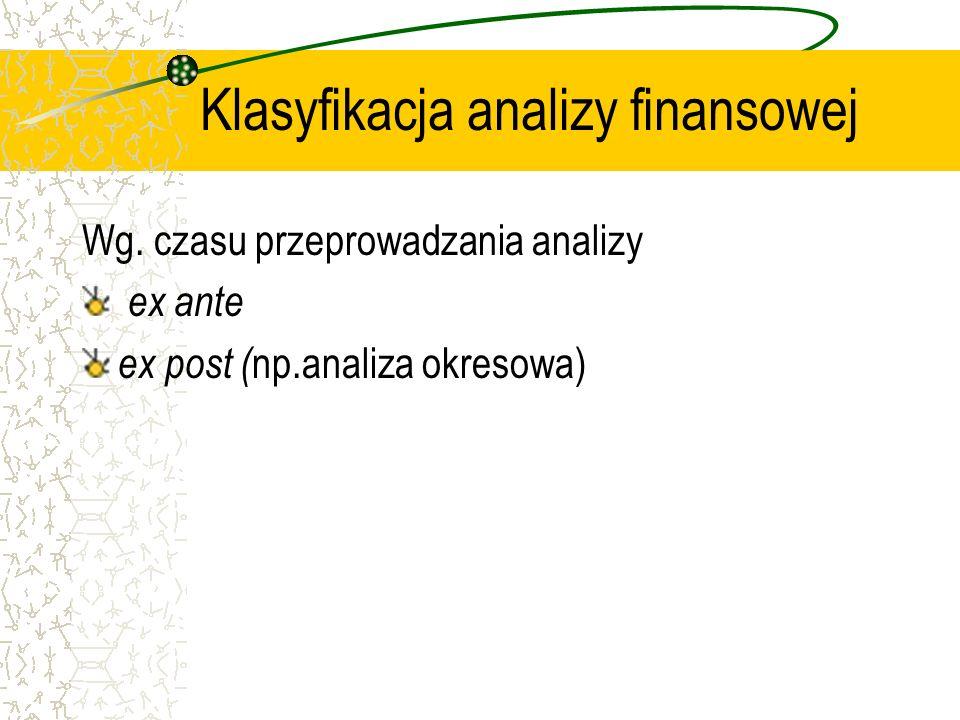 Klasyfikacja analizy finansowej Wg. czasu przeprowadzania analizy ex ante ex post ( np.analiza okresowa)