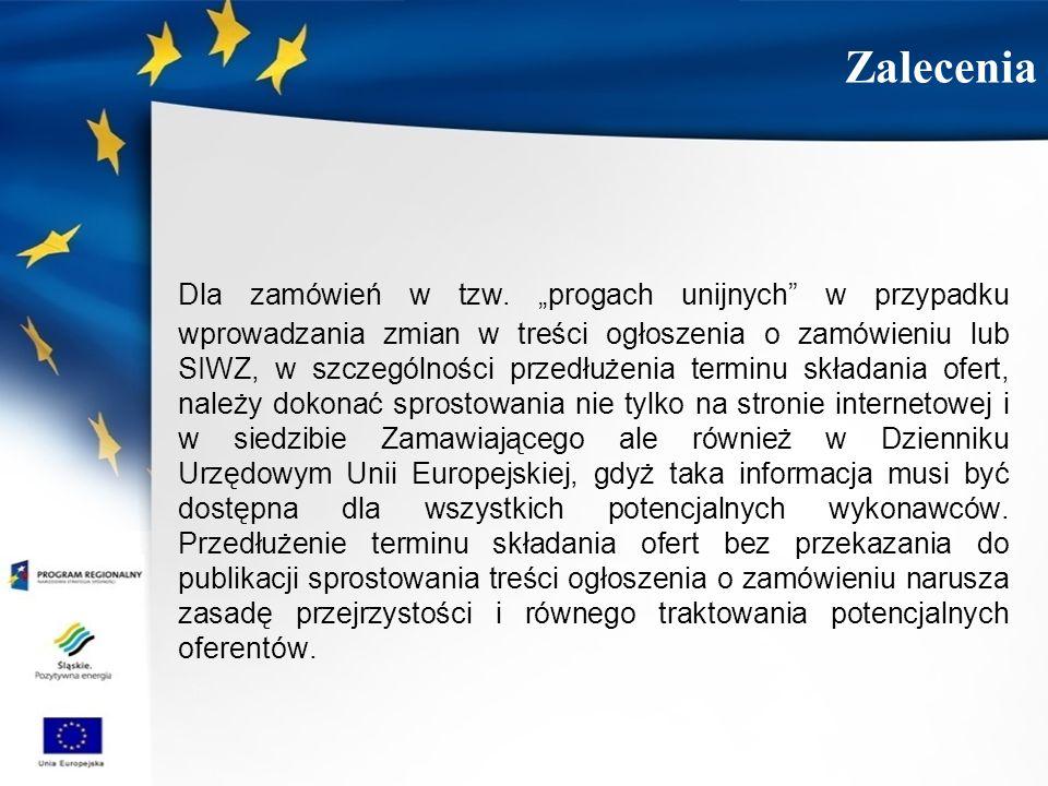 Dla zamówień w tzw. progach unijnych w przypadku wprowadzania zmian w treści ogłoszenia o zamówieniu lub SIWZ, w szczególności przedłużenia terminu sk