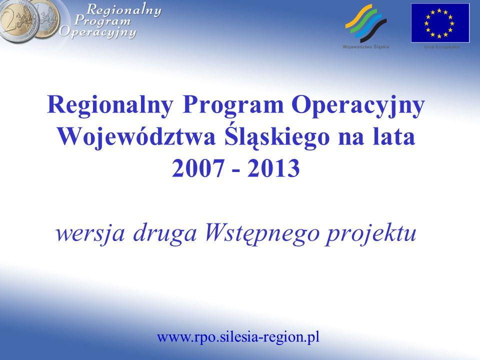 www.rpo.silesia-region.pl Regionalny Program Operacyjny Województwa Śląskiego na lata 2007 - 2013 wersja druga Wstępnego projektu