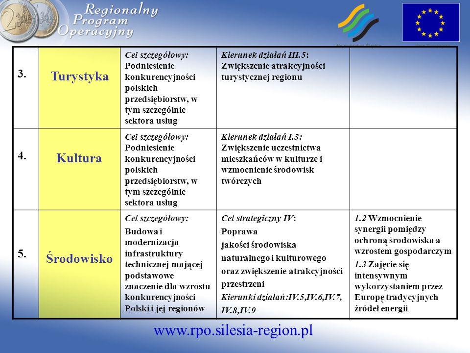 www.rpo.silesia-region.pl 3. Turystyka Cel szczegółowy: Podniesienie konkurencyjności polskich przedsiębiorstw, w tym szczególnie sektora usług Kierun