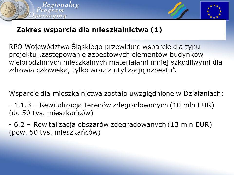 Zakres wsparcia dla mieszkalnictwa (1) RPO Województwa Śląskiego przewiduje wsparcie dla typu projektu zastępowanie azbestowych elementów budynków wielorodzinnych mieszkalnych materiałami mniej szkodliwymi dla zdrowia człowieka, tylko wraz z utylizacją azbestu.