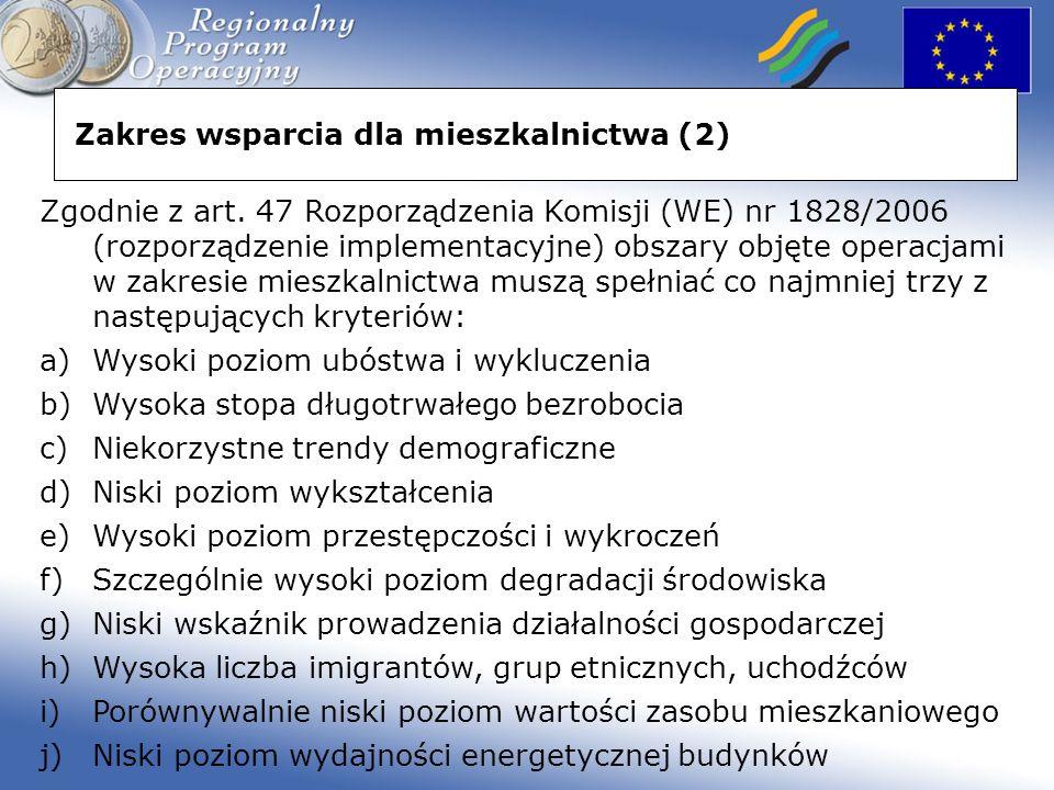 Zakres wsparcia dla mieszkalnictwa (2) Zgodnie z art.