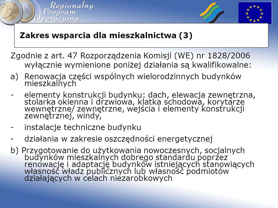 Zakres wsparcia dla mieszkalnictwa (3) Zgodnie z art.