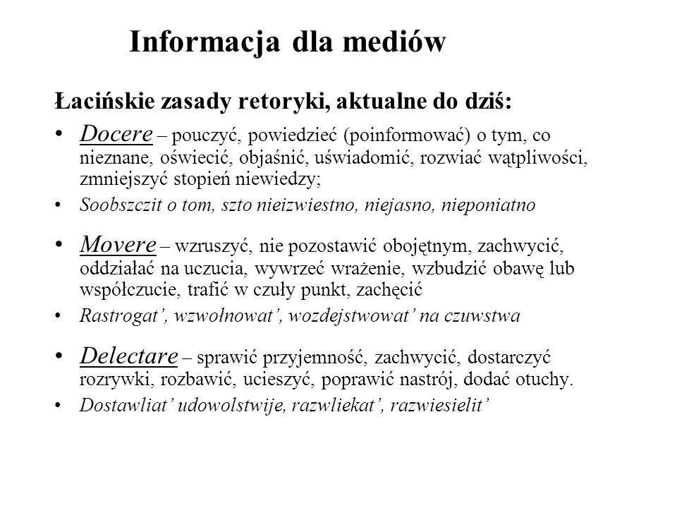 Informacja dla mediów Łacińskie zasady retoryki, aktualne do dziś: Docere – pouczyć, powiedzieć (poinformować) o tym, co nieznane, oświecić, objaśnić,